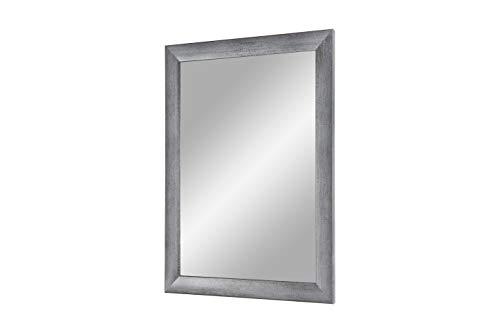 Flex 35 - Wandspiegel 100x80 cm mit Rahmen (Grau gewischt), Spiegel nach Maß mit 35 mm breiter MDF-Holzleiste - Maßgefertigter Spiegelrahmen inkl. Spiegel und stabiler Rückwand mit Aufhängern