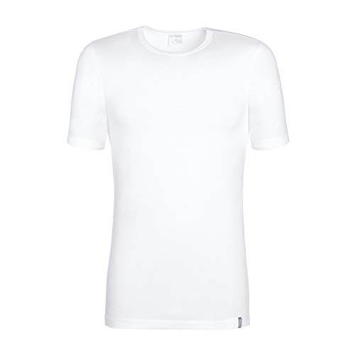 Schiesser Halbarm Shirt 95/5 Rundhals Baumwollmischung weiß Größe M