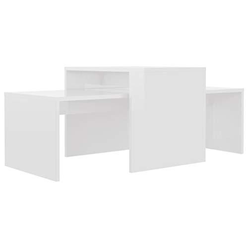 vidaXL Couchtisch Set Beistelltisch Satztisch Sofatisch Kaffeetisch Wohnzimmertisch Teetisch Telefontisch Hochglanz-Weiß 100x48x40cm Spanplatte