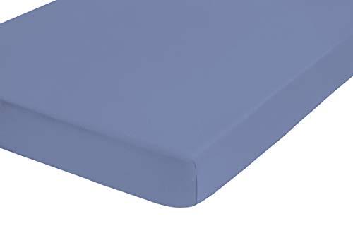 #2 biberna Jersey-Stretch Spannbettlaken, Spannbetttuch, Bettlaken, 140×200 – 160×200 cm, Blau - 2