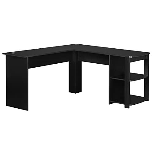 FLHLH Mesa esquinera en forma de L para el hogar, oficina, estudio, escritorio, moderno y minimalista, con 2 estantes de almacenamiento abiertos que pueden soportar un peso de 200 libras.