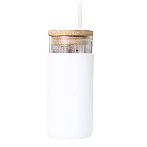 Funight Botella de agua de cristal, antiquemaduras, taza de agua con pajita, taza portátil para el hogar, taza deportiva de borosilicato alto para gimnasio, al aire libre y camping, color blanco