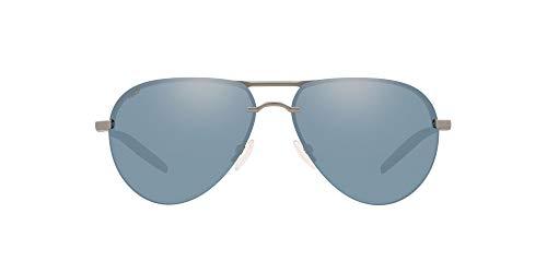 Costa Del Mar Men's Helo Aviator Sunglasses, Matte Silver/Grey Silver Mirrored Polarized 580P, 61 mm