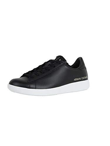 Armani Exchange Mädchen Action Leather Logo ax lace up Sneaker, Schwarz (Black 00002), 35 EU