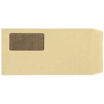 TANOSEE 窓付封筒 裏地紋付 長3 テープのり付 70g/m2 クラフト(窓:グラシン紙) 業務用パック 1ケース(1000枚)