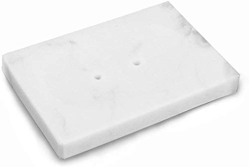 IMEEA - Portasapone in marmo, portasapone in marmo naturale (bianco)