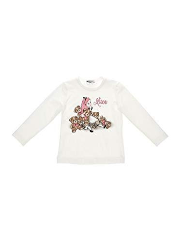 Monnalisa T-Shirt Panna Stampa Alice nel Paese Delle Meraviglie 6 Anni