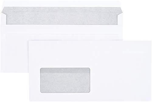 AmazonBasics - Briefumschlag mit Sichtfenster, DL (110x220 mm), selbstklebend, Weiß, 75 g/m², 1.000 Stück