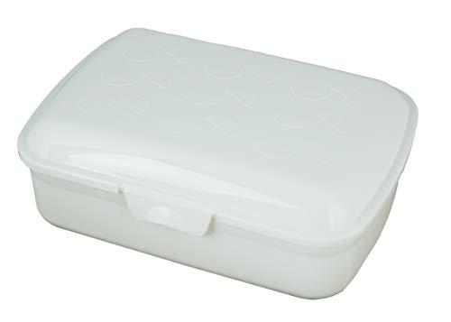 Gies Caja de almacenaje de 20 x 7 cm, sin BPA, reciclable, color blanco, fabricada en Alemania
