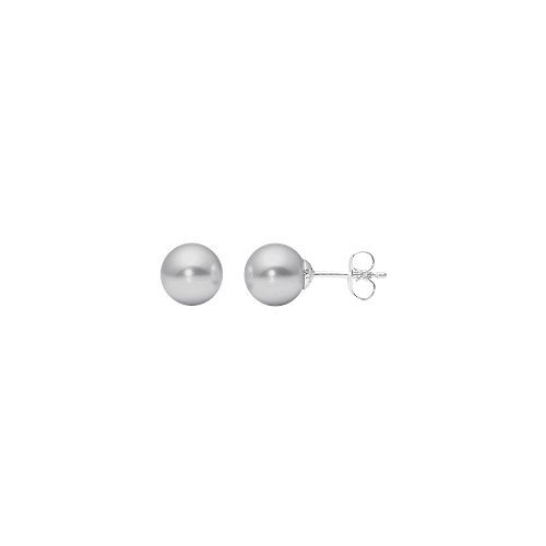 Heideman Ohrringe Damen Perlohrstecker aus Edelstahl silber farbend poliert Ohrstecker für Frauen mit Swarovski Perle hell grau rund 8mm