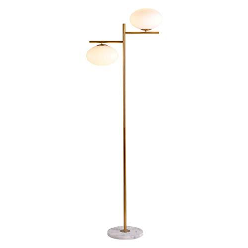 Lampe sur pied Lámpara de pie de doble cabeza de la lámpara de iluminación minimalista moderna de cristal LED Pantalla Arte Estancia Hotel metal lámpara de mesa Decoración Vertical,Lampes sur pied sa
