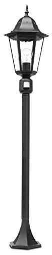 LUTEC padverlichting, aluminium, E27, zwart, 122 x 23,5 x 122 cm