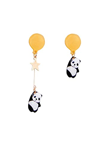 Original Super Lindo Panda Linda Chica sosteniendo Globos s925 Pendientes de Plata Pendientes Clips de Oreja sin Orejas Perforadas-Q_A