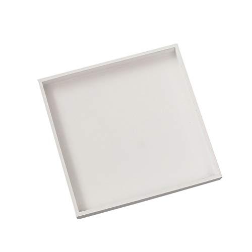 LIOOBO Caja de Almacenamiento Bandeja de Almacenamiento Cuadrada de Madera Anillo de Joyería Collar Accesorios Bandeja de Almacenamiento (Blanco)