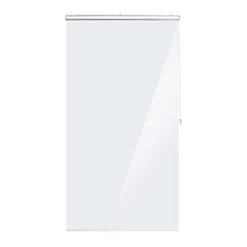 Relaxdays Duschrollo, 100x240 cm, Seilzugrollo für Dusche & Badewanne, wasserabweisend, Decke Spritzschutz, durchsichtig