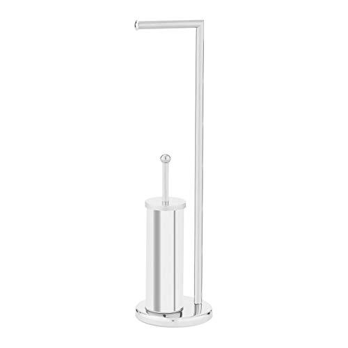 Uniprodo Support Papier Hygiénique Toilette WC Distributeur Porte Rouleau Vertical UNI_Stand_06 (Brosse WC Et Support De Brosse, Pied Lourd, sans Perçage)