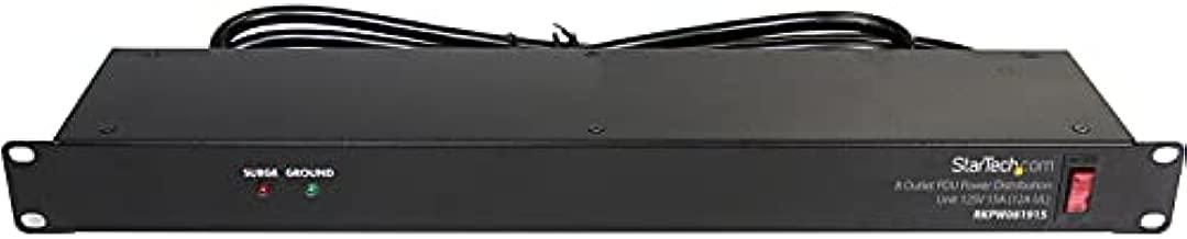 StarTech.com 8 Outlet Horizontal 1U Rack Mount PDU Power Strip for Network Server Racks - Surge Protection - 120V/15A - with 6 Ft Power Cord (RKPW081915), Black