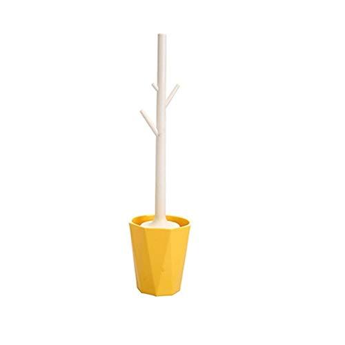 Duradero Cepillo de Inodoro, Cepillo de Inodoro en Forma de Rama Creativa, Cepillo de Limpieza Desmontable para Accesorios de baño para el hogar Regalo (Color : Yellow)