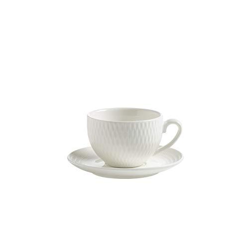 Maxwell & Williams Diamonds Espressotasse mit Untertasse Rund, Espresso Tasse, Hartporzellan, Weiß, 100 ml, DV0029