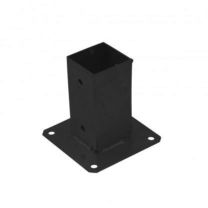 Square Bolt Down Post Base Support Foot Shoe for 70 or 90mm Timber - Black Powder Coated (90 x 90mm)