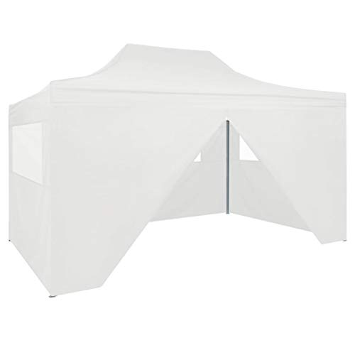 vidaXL Foldable Party Tent with 4 Sidewalls Outdoor Garden Patio Backyard Gazebo Canopy Marquee Sunshade Shelter 3x4.5m White