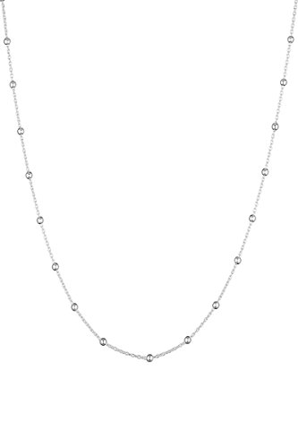 Córdoba Jewels | Gargantilla en Plata de Ley 925 con diseño Cadena Bolitas Silver 38 cm