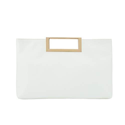 Charming Tailor Fashion PU Leather Handbag Stylish Women Convertible Clutch Purse (White)