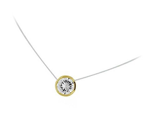 Halskette Nylonband Anhänger, vergoldet und Zirkonia Runde Form Solitaire Kreis–5mm–Schmuck Damen