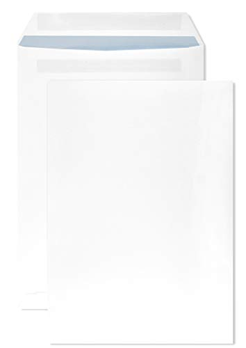 Netuno 250 buste a sacco bianche formato C4 229x 324 mm buste commerciali C4 bianco con stampa interna blu senza finestra con strip adesivo per la corrispondenza aziendale lettere note documenti