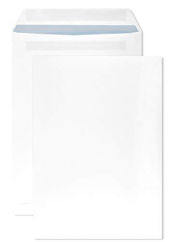 Netuno 250 weiße Versandtaschen C4 mit blauem Innendruck 229×324 mm gerade Klappe selbstklebend ohne Fenster 90g Brief-Umschläge in Großbrief Format C4 Briefhüllen Geschäfts-Umschläge groß weiß