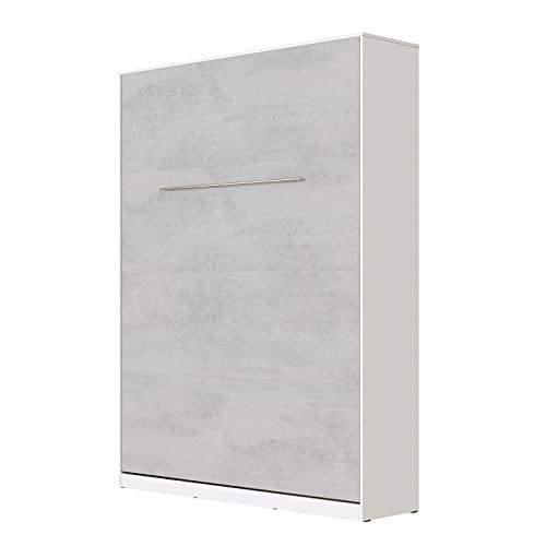 SMARTBett Standard 140x200cm Vertical Blanco/Concreto   Cama Abatible, Cama De Pared, Cama Plegable, Cama Oculta