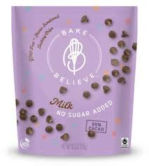 Bake Believe sugar Free Chocolate Chips For Baking, Milk Chocolate, All Natural Stevia Sweetened No Sugar Added, Low-Carb, Keto Friendly (1 Bag - 9 oz)