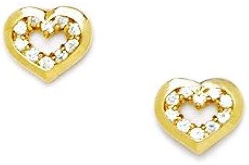 14Karat    GelbGold Ohrringe Zirkonia Herz Schraubverschluss-Ma  6 x 7 mm JewelryWeb