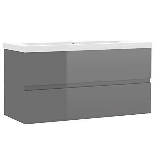Tidyard Mueble con Lavabo aglomerado Gris Brillante 18# | Juego de Mueble de Baño Lavabo Suspendido Almacenamiento Armario Aseo Mobiliario para Lavadero