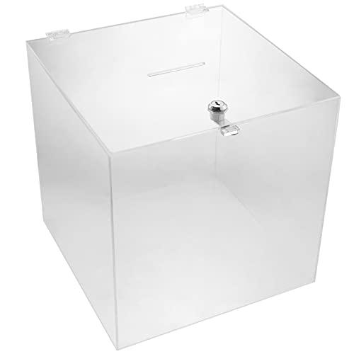 PrimeMatik - Urna de metacrilato Transparente con Llave de Seguridad 30x30x30 cm