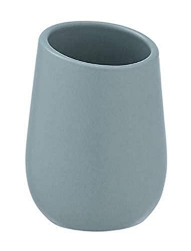 Wenko 24121100 Badi- Portaspazzolino per spazzolini e dentifricio, Ceramica, Blu/Grigio, 8 x 11 x 8 cm