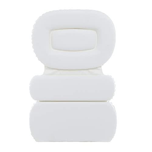 NSWDC Almohada De Baño, con 7 Ventosas Antideslizante Alfombrilla De Baño, Diseño De 3 Paneles para Soporte De Cuello Y Espalda Bañera Reposacabezas - Adecuado para El Hogar SPA,Blanco