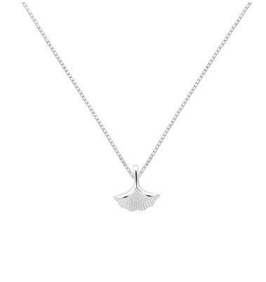 XXCKA S925 Collar de Hoja de Ginkgo de Plata esterlina Colgante Femenino...