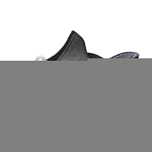 ypyrhh Planas Zapatos de Playa y Piscina,Pendiente Inferior Gruesa con Zapatillas de Boca de Pescado,Pastel de esputo Ocio Cremallera-Negro_35,Chanclas Hombre Verano