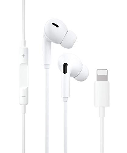 Auriculares para iPhone,Cascos In Ear,Resistentes al Sudor,Cascos con cancelación de Ruido, Auriculares con micrófono y Control de Volumen Compatible con iPhone 7/7 Plus/8/8 Plus/11/12/XR/X/XS/XS MAX