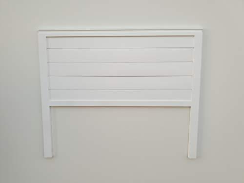 PEJECAR cabecero Modelo daimiel para Cama de 135 Fabricado con Madera Maciza de Pino insigni con Tablas horizontales en Blanco Satinado