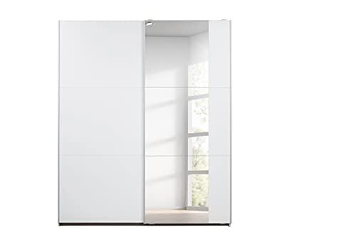 Rauch Möbel Santiago Schrank Schwebetürenschrank Weiß mit Spiegel 2-türig inkl. Zubehörpaket Basic 2 Einlegeböden, 2 Kleiderstangen, BxHxT 175x210x59 cm