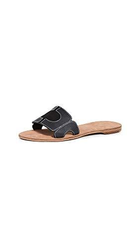 Diane von Furstenberg Women's Link Slide Sandals, Black/Ecru, 6 Medium US