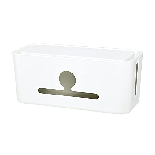 LLSL Caja de organización de Cable, Caja de Tira de energía, Caja de administración de Cables con Soporte de tabletas, para pequeñas Tiras de energía/Protectores de sobretensiones/Cargadores