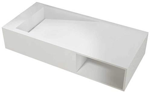 Bernstein Badshop Wandwaschbecken Waschbecken PB2088 mit Ablagefach und Ablaufrinne aus Mineralguss - Weiß Matt - 100 x 46 x 20 cm