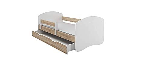 BDW Lettino per ragazzi con cassetto e materasso in rovere Sonoma 180 x 80 cm