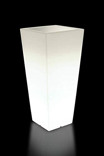 Farmet Designer Pflanzkübel/Blumentopf Hydrus 85 cm, perlweiß mit Leuchte - ideal für den Innen- und Außenbereich - frostfest & stoßsicher