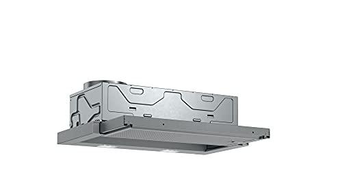 Bosch DFL063W56 Serie 2 Flachschirmhaube, C, 60 cm, Silbermetallic, wahlweise Umluft- oder Abluftbetrieb, Wippenschalter, 2 Leistungsstufen, Metallfettfilter (spülmaschinengeeignet)