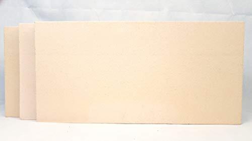 3 Stück Schamotte 40 x 20 x 3 cm Schamotteplatten Schamottstein