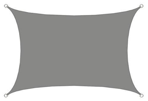 AMANKA UPF50+ UV Sonnensegel - 3x4 Polyester Rechteck Wasserabweisend Wetterfest Garten Balkon Grau